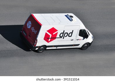 FRANKFURT,GERMANY-JULY 02:DPD van on the highway on July 020,2015 in Frankfurt,Germany.Dynamic Parcel Distribution or DPD is an international parcel delivery company owned by GeoPost.