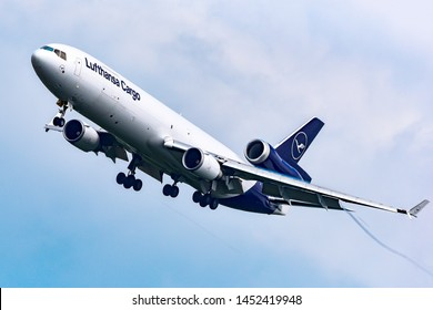 Frankfurt,Germany-July 13,2019: D-ALCC Lufthansa Cargo McDonnell Douglas MD-11F over airport.