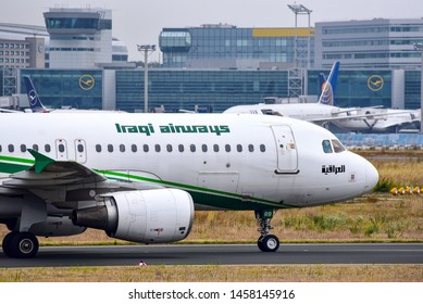 Frankfurt,Germany-July 13,2019: Iraqi Airways Airbus A320 in airport.