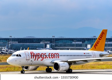 Frankfurt,Germany-July 13,2019: Pegasus Airlines Airbus A320neo in airport.Pegasus Airlines is a Turkish low-cost airline.