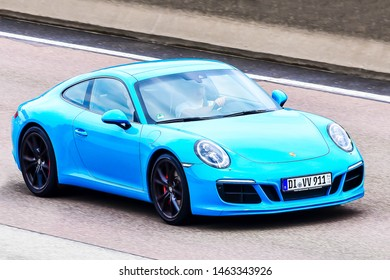 Frankfurt,Germany-July 13,2019:  PORSCHE car on the route.