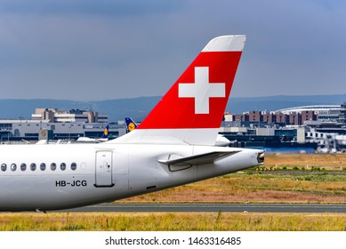 Frankfurt,Germany-July 13,2019: Swiss Bombardier CSeries CS300  in airport.SWISS is the national airline of Switzerland.
