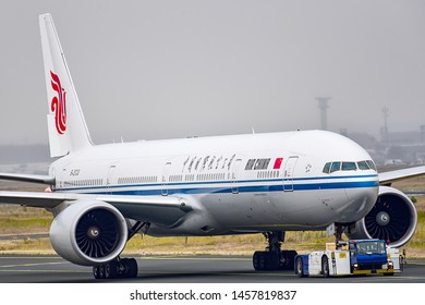Frankfurt,Germany-July 13,2019:AIR CHINA Boeing 777-300ER in airport.