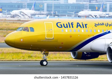 Frankfurt,Germany-July 13,2019:GULF AIR Airbus A320 in airport.Gulf Air is the flag carrier of Bahrain.