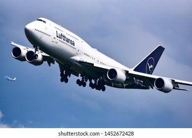 Frankfurt,Germany-July 13,2019:LUFTHANSA AIRLINES Boeing 747 over airport.