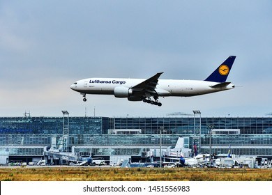 Frankfurt,Germany-July 13,2019:LUFTHANSA CARGO Boeing 777 over airport.