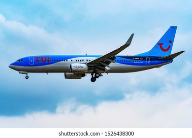 Frankfurt,Germany-July 14,2019: TUI Airlines Airplane Boeing 737-800.TUI Group, is a German multinational travel and tourism company headquartered in Hannover, Germany.