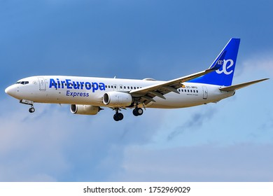 Frankfurt,Germany-July 14,2019:CAir Europa Express Boeing 737-800 in the sky.Air Europa Express is a Spanish regional low-cost airline.