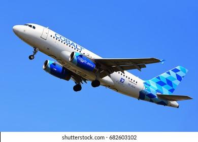 FRANKFURT,GERMANY-JULY 21: COBALT AIR Airbus A319 lands at Frankfurt airport on July 21,2017 in Frankfurt,Germany.Cobalt Air-Cypriot airline based at Larnaca International Airport in Larnaca,Cyprus.