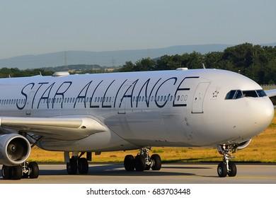 FRANKFURT,GERMANY-JULY 21: LUFTHANSA AIRLINES AIRBUS A340-300 lands at Frankfurt airport on July 21,2017 in Frankfurt,Germany.