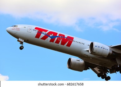 FRANKFURT,GERMANY-JULY 21: TAM BOEING 777-300ER lands at Frankfurt airport on July 21,2017 in Frankfurt,Germany.LATAM Airlines Brasil or TAM Airlines, is the Brazilian brand of LATAM Airlines Group.