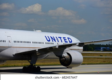 FRANKFURT,GERMANY-JULY 21: United Airlines Boeing 777-222(ER)  lands at Frankfurt airport on July 21,2017 in Frankfurt,Germany.United, is a major American airline headquartered in Chicago, Illinois.