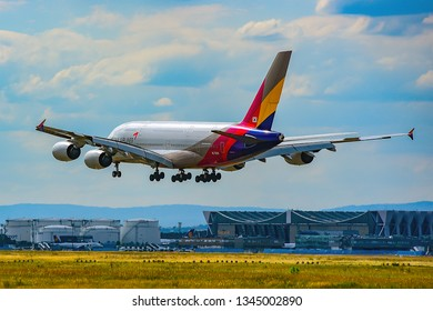 Frankfurt,Germany-July 21,2017: ASIANA AIRLINES Airbus A380-800.