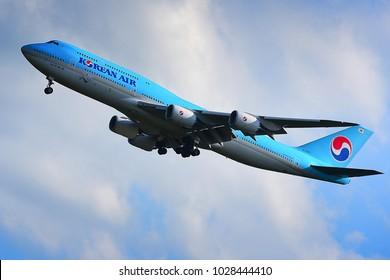 FRANKFURT,GERMANY-JULY 21,2017: KOREAN AIR Boeing 747-8  lands at Frankfurt airport.