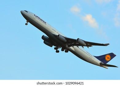 FRANKFURT,GERMANY-JULY 21,2017: LUFTHANSAAirlines Airbus A340-300 lands at Frankfurt airport.