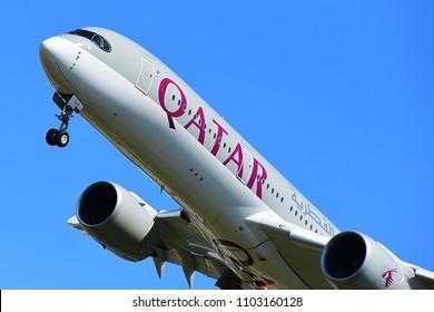 FRANKFURT,GERMANY-JULY 21,2017: Qatar Airways A7-ALJ Airbus A350.