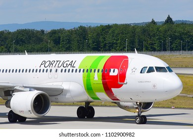 FRANKFURT,GERMANY-JULY 21,2017: TAP (Portugal) Airlines Airbus A320.