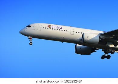 FRANKFURT,GERMANY-JULY 21,2017: Thai Airways Airbus A350-900  lands at Frankfurt airport.