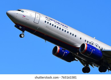 FRANKFURT,GERMANY-JULY 21,2017:Aeroflot Airbus A320 lands at Frankfurt airport.Aeroflot, is the flag carrier and largest airline of the Russian Federation.