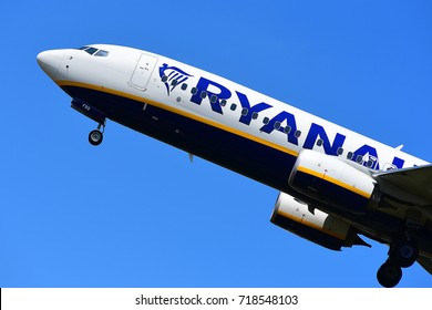 FRANKFURT,GERMANY-JULY 21:RYANAIR BOEING 737 lands at Frankfurt airport on July 21,2017 in Frankfurt,Germany.Ryanair Ltd. is an Irish low-cost airline in Dublin, Ireland.