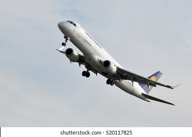 FRANKFURT,GERMANY-JULY 28:LUFTHANSA aircraft approaching  Frankfurt airport on July 28,2016 in Frankfurt,Germany.Lufthansa is a German airline and largest airline in Europe.