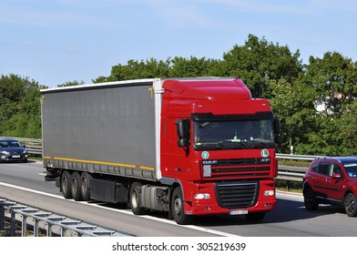 FRANKFURT,GERMANY-JULY 31: DAF truck on the highway on July 31,2015 in Frankfurt,Germany.