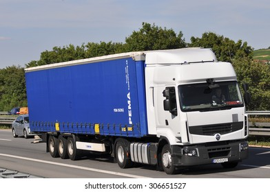 FRANKFURT,GERMANY-JULY 31: truck on the highway on July 31,2015 in Frankfurt,Germany.