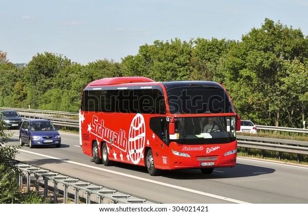 Frankfurtgermanyjuly 31modern Luxury Doubledecker Bus On