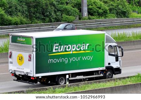 Frankfurtgermanyjune 022016 Europcar Truck On Route Stock Photo