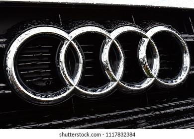 FRANKFURT,GERMANY-JUNE 08,2018: AUDI car and logo.