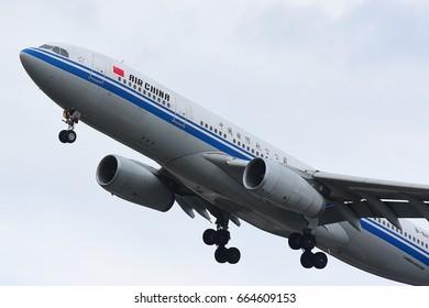 FRANKFURT,GERMANY-JUNE 17: AIR CHINA Boeing 777 over airport on June 17,2017 in Frankfurt,Germany.