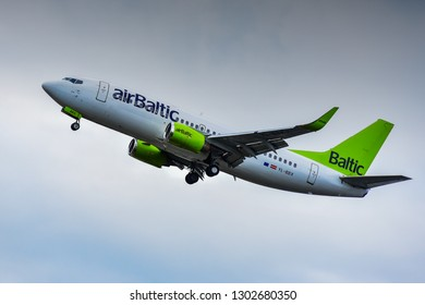 Frankfurt,Germany-June 17,2017: airBaltic Airlines Boeing 737.airBaltic, legally incorporated as AS Air Baltic Corporation, is the flag carrier of Latvia