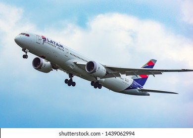 Frankfurt,Germany-June 17,2017:Chilean LATAM Airlines Boeing 787-9.LATAM Airlines Group S.A. is a Chilean airline holding company incorporated under Chilean law and headquartered in Santiago, Chile.