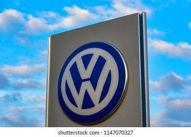 FRANKFURT,GERMANY-JUNE 21,2018:Volkswagen cars logo.