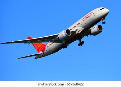 FRANKFURT,GERMANY-JUNE 24: AIR INDIA BOEING 787-8 lands at Frankfurt airport on June 24,2017 in Frankfurt,Germany.