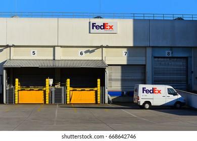 FRANKFURT,GERMANY-JUNE 24: Fedex Logistics Terminal on June 24,2017 in Frankfurt,Germany.