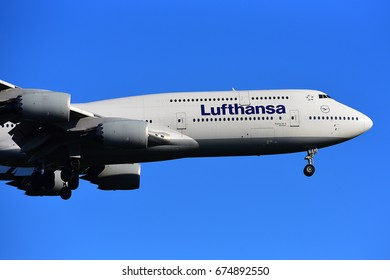 FRANKFURT,GERMANY-JUNE 24: LUFTHANSA BOEING 747 lands at Frankfurt airport on June 24,2017 in Frankfurt,Germany.