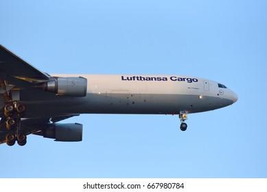 FRANKFURT,GERMANY-JUNE 24: LUFTHANSA CARGO Boeing  lands at Frankfurt airport on June 24,2017 in Frankfurt,Germany.