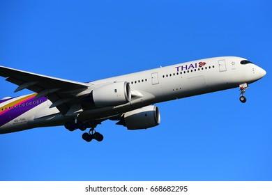 FRANKFURT,GERMANY-JUNE 24: THAI AIRLINES AIRBUS A350-900 lands at Frankfurt airport on June 24,2017 in Frankfurt,Germany.
