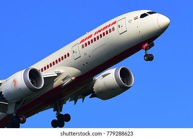 FRANKFURT,GERMANY-JUNE 24,2017: AIR INDIA Boeing 787-8 lands at Frankfurt airport.