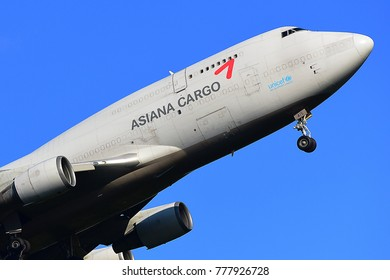 FRANKFURT,GERMANY-JUNE 24,2017: ASIANA AIRLINES Cargo Boeing 747-400SF lands at Frankfurt airport.