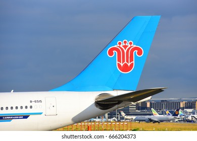 FRANKFURT,GERMANY-JUNE 24:China Southern AirlinesAirbus A330-200 in the  airport on June 24,2017 in Frankfurt,Germany.