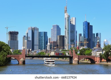 FRANKFURT,GERMANY-JUNE 24:Frankfurt's Skyline by Main River on June 24,2017 in Frankfurt,Germany. Frankfurt is the financial center of Germany. Frankfurt is the financial center of Germany.