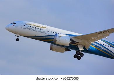 FRANKFURT,GERMANY-JUNE 24:OMAN AIR BOEING 787-80 over  airport on June 24,2017 in Frankfurt,Germany.