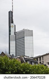FRANKFURT,GERMANY-JUNE 29:Commerzbank skyscraper on June 29,2014 in Frankfurt,Germany. Commerzbank AG is a German global banking and financial services company.