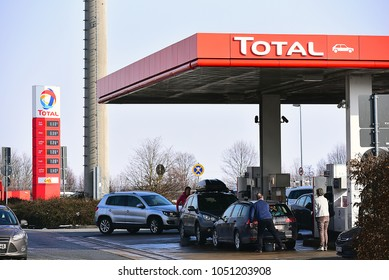 FRANKFURT,GERMANY-MARCH 03,2018:TOTAL fuel and gas station.