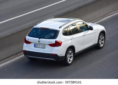 FRANKFURT,GERMANY-MARCH 09:BMW X1 on the freeway on March 09,2017 in Frankfurt,Germany.