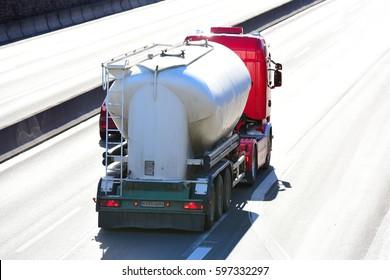 FRANKFURT,GERMANY-MARCH 09:truck on the freeway on March 09,2017 in Frankfurt,Germany.