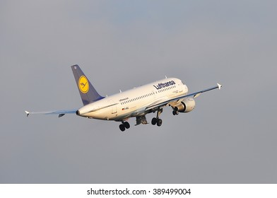 FRANKFURT,GERMANY-MARCH 10:airplane of Lufthansa above the Frankfurt airport on March 10,2016 in Frankfurt,Germany.Lufthansa is a German airline and also the largest airline in Europe.