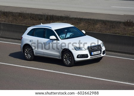 Frankfurtgermanymarch 16 Audi Car On Freeway Stock Photo Edit Now